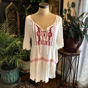 Free People burnout Embroidered bohemian tunic top